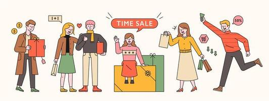 Menschen stehen mit Geschenkboxen und Einkaufstüten.
