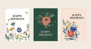 botanische frohe Feiertagsgrußkartenschablonensatz vektor