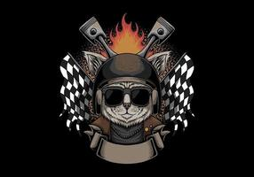 Katzenhelm Motorrad Vektor-Illustration