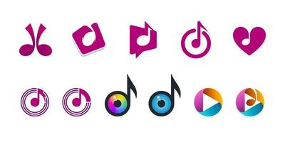 Musiknoten-Symbole setzen musikalisches Logo-Design-Set vektor