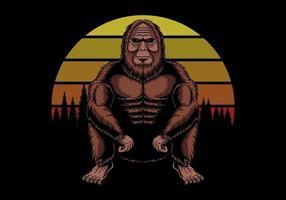 Bigfoot Hocken in der Nähe von Sonnenuntergang Retro Vektor-Illustration vektor