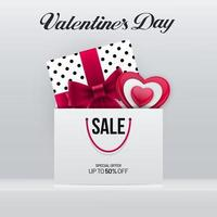 Valentinstag Verkauf Poster Design mit Geschenkbox und Tasche vektor