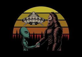 Bigfoot und Alien Verschwörung bei Sonnenuntergang Retro Vektor-Illustration vektor