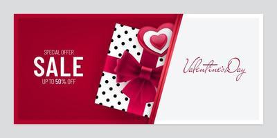 Valentinstag Verkauf Papierschnitt Banner Design mit Geschenkbox vektor