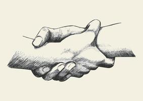 Hände helfen sich gegenseitig beim Skizzieren vektor