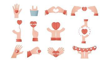 Hände im Konzept der Liebe entworfen. Papierschnittelementillustration lokalisiert auf weißem Hintergrund.