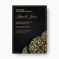 mandala stil lyxiga mörka bröllopsinbjudningsmall vektor