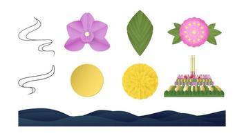 elememts ist für das loy krathong Festival konzipiert. Vektorillustrationsentwürfe im minimalen Stil für Schablone, Abdeckung, Einladung, Karte. Papierhandwerk auch für Kinder. vektor