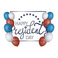Präsidententag Siegelstempel mit Flaggen und Gentleman-Silhouette-Vektorillustrationsdesign vektor