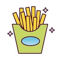 läckra pommes frites snabbmat detaljerad stilikon
