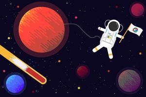 astronaut med planetdesign vektor