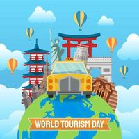 Hand gezeichnete Illustration des Welttourismus-Tageskonzepts. Vektorillustration
