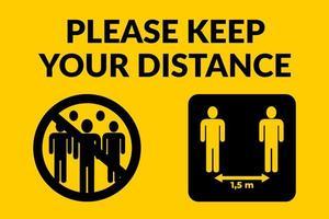 Bitte halten Sie Ihr Distanzschild vektor