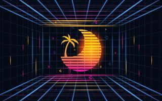 futuristisk raster solnedgång med kokosnöt träd. framtida tema koncept bakgrund. vektor