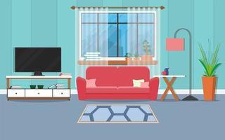 Innenwohnzimmer mit Möbeln und Fenster