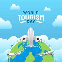 Hand gezeichnete Illustration des Welttourismus-Tageskonzepts. Vektorillustration vektor