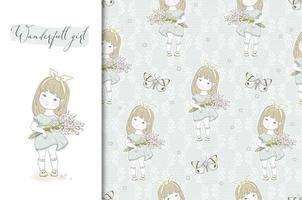 liten flicka med blommor bukett i händerna. söt handritad vektorillustration. vårkort och sömlös bakgrund. ytdesign. vektor