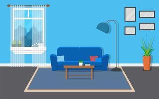 interiör vardagsrum med möbler och fönster vektor