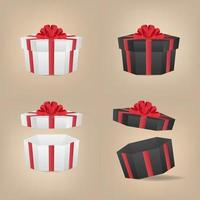 Sechseck Schwarz-Weiß-Geschenkboxen mit der roten Schleife. vektor