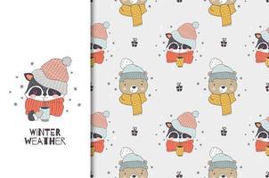 Cartoon Tier im Winter trägt eine Strickmütze und einen Schal. Waschbären- und Bärenfiguren. Winterkarte und nahtloses Hintergrundmuster. vektor