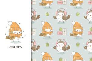 niedlicher Cartoonvogel in Strickmütze und Schal. Weihnachtskarte und nahtloses Hintergrundmuster. vektor