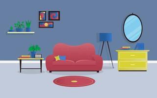 interiör vardagsrum koncept i färg med växter i rummet vektor