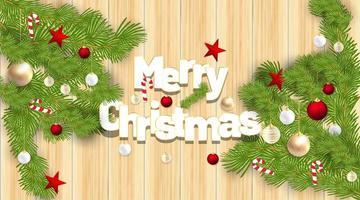 Frohe Weihnachten Vektor Ornamente mit roten Kugeln, Süßigkeiten, Sternen und Blättern. Hintergrund Holz Textur. Vektorillustration