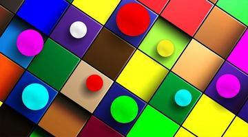 abstrakter 3D-Kugelhintergrundvektor oben auf einem mehrfarbigen Würfel