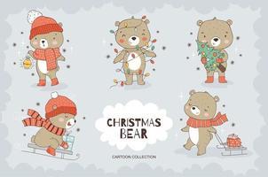 tecknad nallebjörn karaktär samling. djur ikoner set. vektor