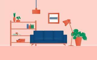 mysig interiör vardagsrum konceptfärg med växt i rummet vektor