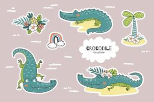 tecknad krokodil doodles samling. djungeldjurens karaktär. vektor