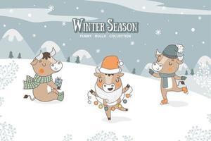 süße Cartoon Bulls Sammlung. Winter Saison Zeichen Aufkleber. vektor