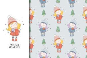 Cartoon kleines warm gekleidetes Mädchen mit Geschenken. Weihnachtskarte und nahtloses Hintergrundmuster. vektor