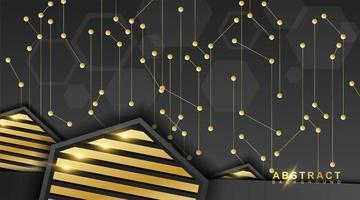 abstrakte Linien und Punkte sind verbunden. Vektor-Hintergrundtechnologie mit schwarzen oder dreieckigen Sechsecken. vektor