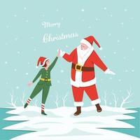 jultomten som gör high-five med en liten flicka på vinterbakgrund. vektor