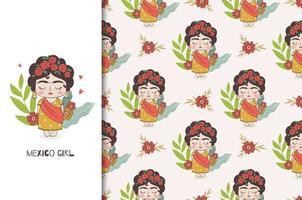 mexikanischer Mädchencharakter und nahtloses Muster. vektor