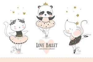 söt tecknad baby ballerina samling. katt, panda, musdansande karaktärer. vektor