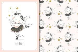 söt liten baby katt ballerina dansare karaktär. kattkort och sömlös bakgrundsmönsteruppsättning. vektor