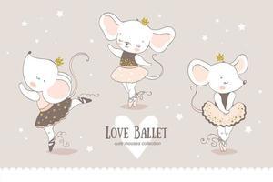 söt tecknad babymus ballerina samling. små möss prinsessa dansar karaktärer. vektor
