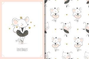 söt liten baby mus ballerina dansare karaktär. möss kort och sömlös bakgrundsmönsteruppsättning. vektor