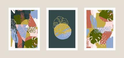 samling av konsttryck med abstrakta tropiska blad. modern design för affischer, omslag, kort, inredning och andra användare. vektor