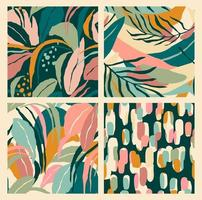abstrakte Sammlung nahtloser Muster mit Blättern und geometrischen Formen.