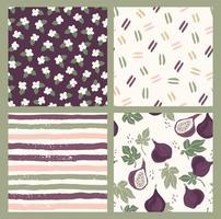abstrakt samling av sömlösa mönster med blommor, fikon, ränder och geometriska former. modern design