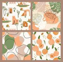 abstrakt samling av sömlösa mönster med aprikoser, landskap, löv och geometriska former. modern design