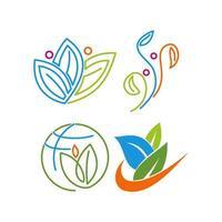 Blatt menschliche Gesundheit Landwirtschaft natürliche Illustration Vorlage gesetzt vektor