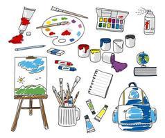 uppsättning doodle skolpapper