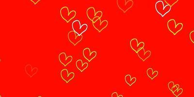 hellrotes, gelbes Vektormuster mit bunten Herzen.
