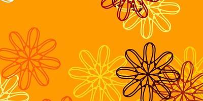 ljus orange vektor naturlig bakgrund med blommor.