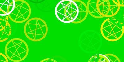 hellgrüner, gelber Vektorhintergrund mit Mysteriumsymbolen.