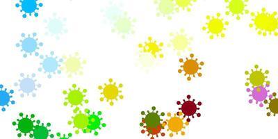 heller mehrfarbiger Vektorhintergrund mit Virensymbolen